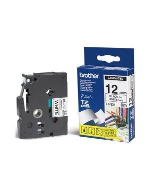 Cass da 12mm nera su fondo bianco Brother TZE231 4977766685177 TZE231