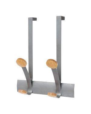 Appendiabiti da porta 2posti 30cm metallo/legno alba PMV2P_71274