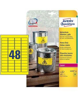 Poliestere adesivo l6103 giallo fluo 20fg a4 45,7x21,2mm (48et - fg) laser avery L6103-20 4004182061039 L6103-20_71965