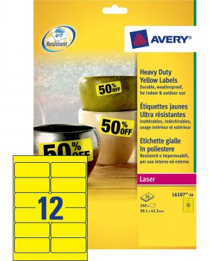 Poliestere adesivo l6107 giallo fluo 20fg a4 99,1x42,3mm (12et - fg) laser avery L6107-20 4004182061077 L6107-20_71966 by Avery