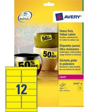 Poliestere adesivo l6107 giallo fluo 20fg a4 99,1x42,3mm (12et - fg) laser avery L6107-20 4004182061077 L6107-20_71966