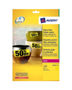 Poliestere adesivo l6127 giallo fluo 20fg a4 99,1x139mm (4et - fg) laser avery L6127-20 4004182048368 L6127-20_71967 by Avery