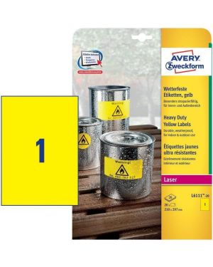 Poliestere adesivo l6111 giallo fluo 20fg a4 210x297mm (1et - fg) laser avery L6111-20 4004182061114 L6111-20_71968 by Avery