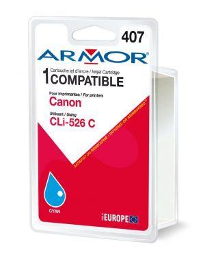 Cartuccia ciano per canonpixma ip4850, mg5150, mg5250, mg6150, mg8150 B12562R1 3112539256906 B12562R1_ARMCLI526C by Armor