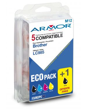 Conf. multipla 5 cartucce lc 985 per c - brother (2bk 1c - m - y B10173R1 3112539252724 B10173R1_ARMLC985MP by Armor