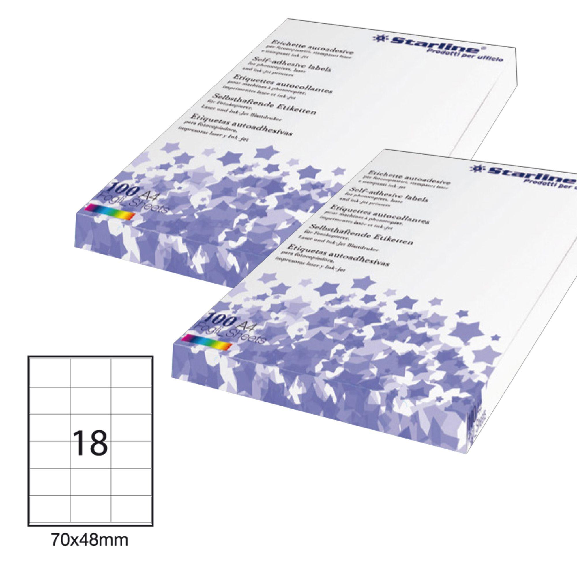 Etichetta adesiva bianca 100fg a4 70x48mm (18et - fg) starline STL3026 8025133013750