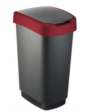 Pattumiera 50lt in ppl nero - rosso coperchio basculante rotho F600027 7610859135438 F600027_74033