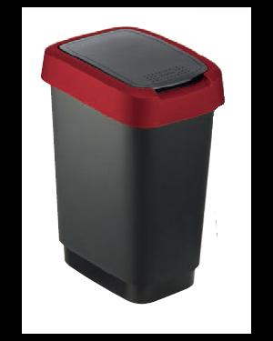 Pattumiera 50lt in ppl nero/rosso coperchio basculante rotho F600027_74033