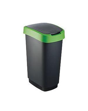 Pattumiera 50lt in ppl nero/verde coperchio basculante rotho F600028_74034