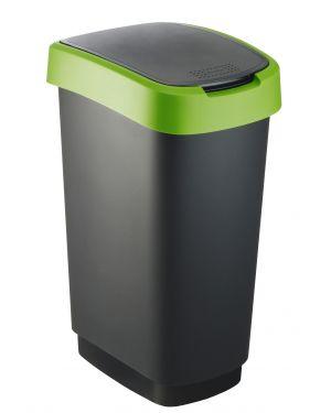 Pattumiera 50lt in ppl nero - verde coperchio basculante rotho F600028 7610859135445 F600028_74034
