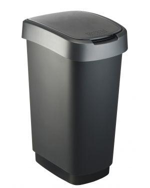 Pattumiera 50lt in ppl nero - grigio coperchio basculante rotho F600029 7610859135421 F600029_74035