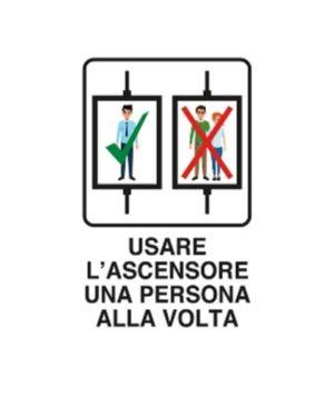 Usare ascensore 1 alla volta 30x Mascherine 06905090ALB0300X0200 8024814501913 06905090ALB0300X0200