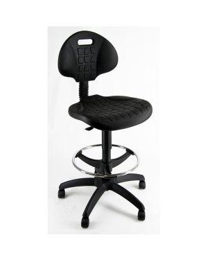 Sedia alta tecnigrafo esos e2 nera in pu con poggiapiedi e ruote EOE2 8050043740175 EOE2_73059 by Unisit