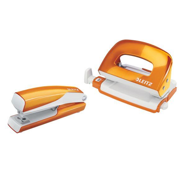 Set mini cucitrice e perforatore in metallo Leitz WOW NeXXt Series Colore Arancione metallizzato ES_55612044 by Leitz