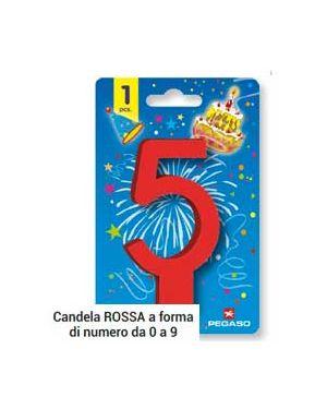 Blister candelina n°5 rossa 11.5cm pegaso PB 922 BIG-5_73239
