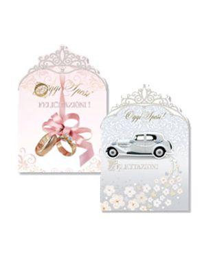 Scatola 12 biglietti matrimonio crown micart H15232_74223
