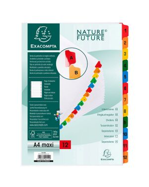 Separatore numerico 1 12/a4 maxi in cartoncino 160gr exacompta 4112E_74629 by Esselte