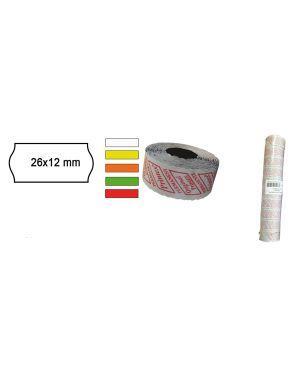 Pack 10 rotoli 1000 etich. 26x12mm onda bianco perm. printex 2612sbp10 8034049914037 2612sbp10_74893 by Printex