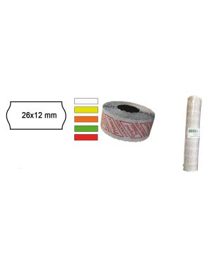 Pack 10 rotoli 1000 etich. 26x12mm onda giallo perm. printex 2612sfr10gi 8034049914310 2612sfr10gi_74896 by Printex