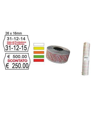 "Pack 10 rotoli 1000 etich. 26x16mm onda ""scontato"" bianco perm. printex 2616sbp10st 8034049918240 2616sbp10st_74907 by Printex"