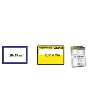 Pack 10 rotoli 600 etich. 26x19mm bianco perm. cornice blu printex B10/2619BPSTBB 8034049910831 B10/2619BPSTBB_74911 by Printex