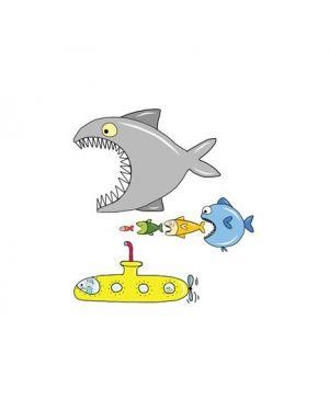 Adesivi murali removibili big fish eat y submarine   size m 33,5x42 wallskin BA-K420M_500360