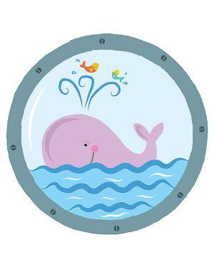 Adesivi murali removibili - pink whale - size m 33,5x42 wallskin BA-K418M 8025133027788 BA-K418M_500406