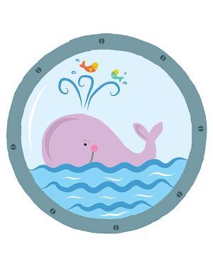 Adesivi murali removibili - pink whale - size l 48x68 wallskin BA-K418L 8025133027795 BA-K418L_500407