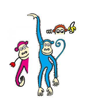 Adesivi murali removibili - furry monkeys - size l 48x68 wallskin BA-K451L 8025133027832 BA-K451L_500411