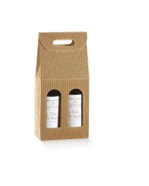 Scatola 2 bottiglie 180x90mm h385mm onda avana 35903C 8007402359035 35903C_57649 by Tono Su Tono