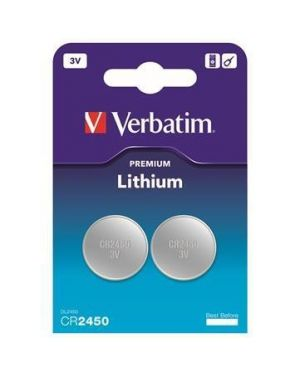 Blister 2 micropile a pastiglia cr2450 litio 3v verbatim 49938 23942499381 49938_VERB49938 by Verbatim