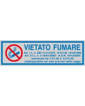 Targhetta adesiva 165x50mm vietato fumare con normativa 96701 77167 A 96701_77167