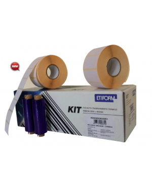 Kit completo 6rt etichette 50x48 + 1rt ribbon per stampante ttr K050X048X050R3_74852