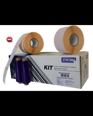 Kit completo 3rt etichette 90x48 + 2rt ribbon per stampante ttr K090X048X050R2_74861
