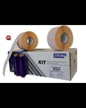 KIT COMPLETO 6RT ETICHETTE 100x74 + 1RT RIBBON per STAMPANTE TTR K100X074X050R4_74872