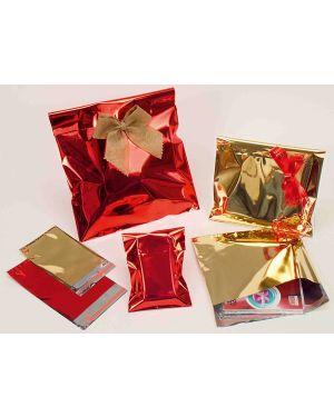 50 buste regalo in ppl metal lucido 16x21+4cm oro con patella adesiva U-814ARRYP7AD_76962