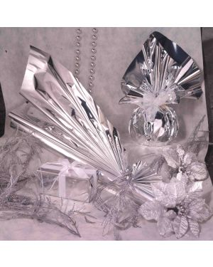 50 buste regalo in ppl metal lucido 25x40+5cm argento con patella adesiva U-011ANNYO7NN_76969