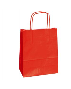 25 shoppers carta kraft 18x7x24cm twisted rosso 072086_76994 by Cartabianca