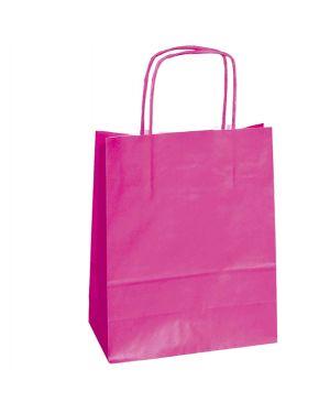 25 shoppers carta kraft 18x7x24cm twisted magenta 072062_76997 by Cartabianca
