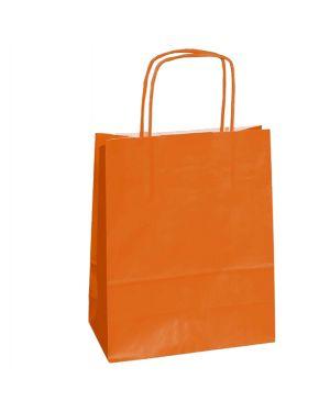 25 shoppers carta kraft 18x7x24cm twisted arancione 072079_76998 by Cartabianca
