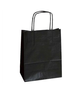 25 shoppers carta kraft 18x7x24cm twisted nero 072123_76999 by Cartabianca