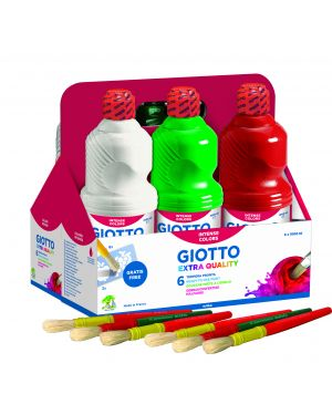 Schoolpack 6 flaconi tempera pronta 1000ml assortita giotto 53460000 8000825041327 53460000