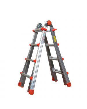 Scala telescopica alluminio 8+8 gradini squadra piu&#39 21558 8021227005687 21558