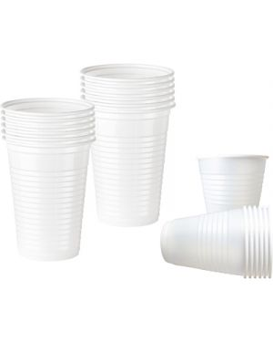 Bicchieri plastica bianca  80cc pz.100 2063