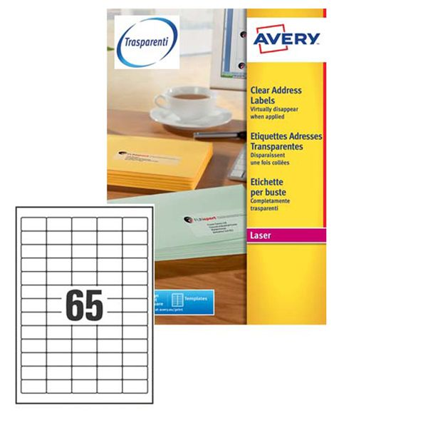 Poliestere adesivo l7551 trasparente 25fg a4 38,1x21,2mm (65et - fg) laser avery L7551-25 5014702005206 L7551-25 by Avery
