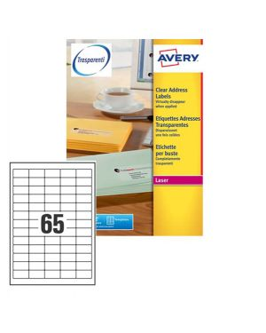 Poliestere adesivo l7551 trasparente 25fg a4 38,1x21,2mm (65et - fg) laser avery L7551-25 5014702005206 L7551-25