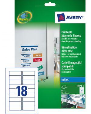 Etichette magnetiche bianche inkjet in A4 78x28mm (18et/fg - 5Fg) J8871 Avery J8871-5