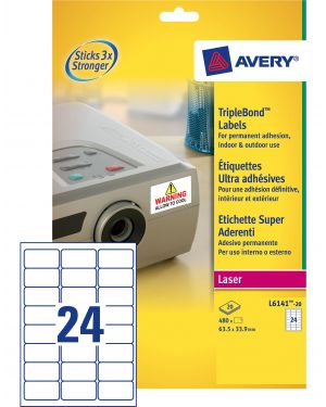 Poliestere adesivo L6141 trasparente 20fg A4 63,5x33,9mm (24et/fg) laser Avery L6141-20 by Avery