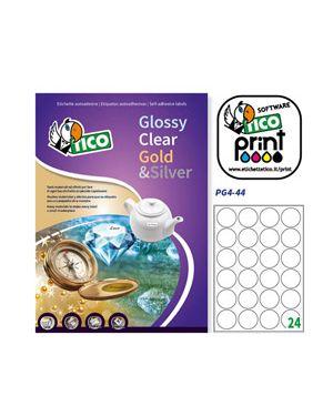 Etichetta adesiva pg4 bianca lucida 100fg a4 tonda Ø44 (24et/fg) tico PG4-44