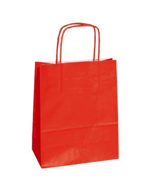 25 shoppers carta kraft 26x11x34,5cm twisted rosso 37528 8029307037528 37528 by Cartabianca